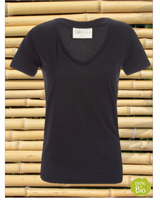 Women T-shirt V neck in Bamboo - Black