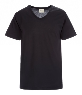 Men T-shirt V neck in Bamboo - Black
